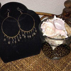 NORDSTROM Black & Gold Large Dangle Earrings